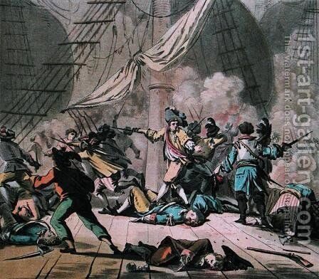 Combat on board the ship Tonnant, engraved by Jean Baptiste Morret fl.1790-1820 1789 by (after) Swebach, Jacques Francois Joseph - Reproduction Oil Painting