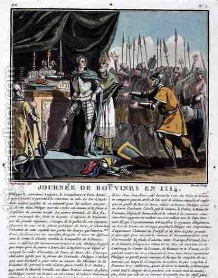 The Historic Day of Bouvines in 1214, engraved by Jean Baptiste Morret fl. 1790-1820, 1790 by (after) Swebach, Jacques Francois Joseph - Reproduction Oil Painting