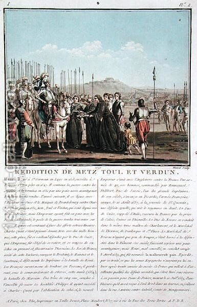 Henri II 1519-59 receives the keys of Metz, Toul and Verdun 1552, engraved by Jean Baptiste Morret fl.1790-1820, 1790 by (after) Swebach, Jacques Francois Joseph - Reproduction Oil Painting