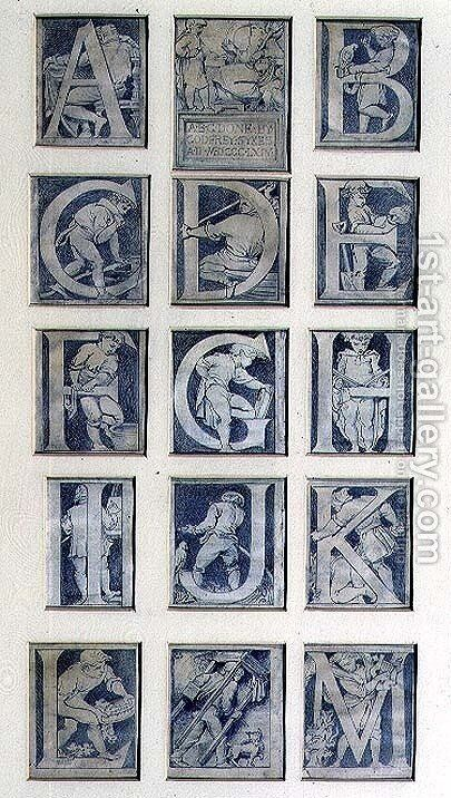 A-M, design for thirteen letters for the Alphabet for the South Kensington Museum, 1864 by Godfrey Sykes - Reproduction Oil Painting
