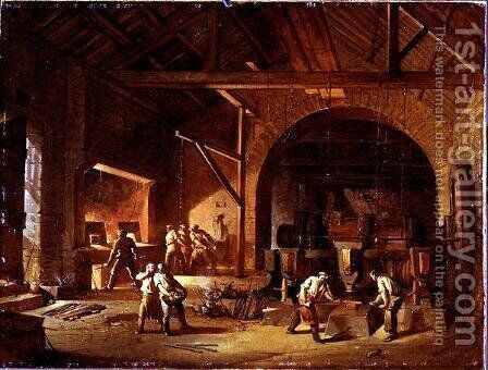 Interior of an Ironworks, 1850 by Godfrey Sykes - Reproduction Oil Painting