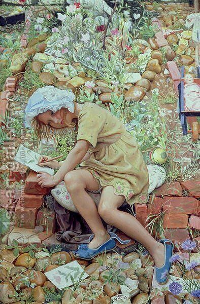 Molly in the Garden, 1930 by Mark Lancelot Symons - Reproduction Oil Painting