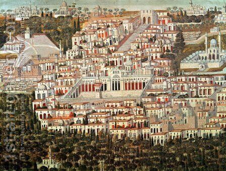 View of the city of Damascus by Anonymous Artist - Reproduction Oil Painting