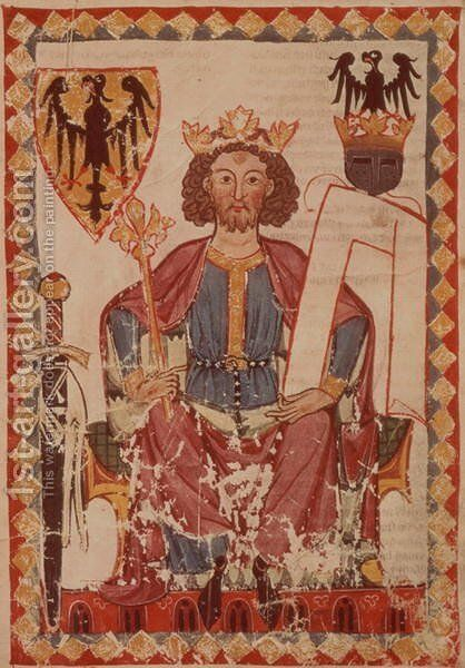 MS. Pal. germ. 848 King Henry, illustration from the Manasse Codex, a collection of courtly love songs, probably from Zurich, c.1300-20 by Anonymous Artist - Reproduction Oil Painting