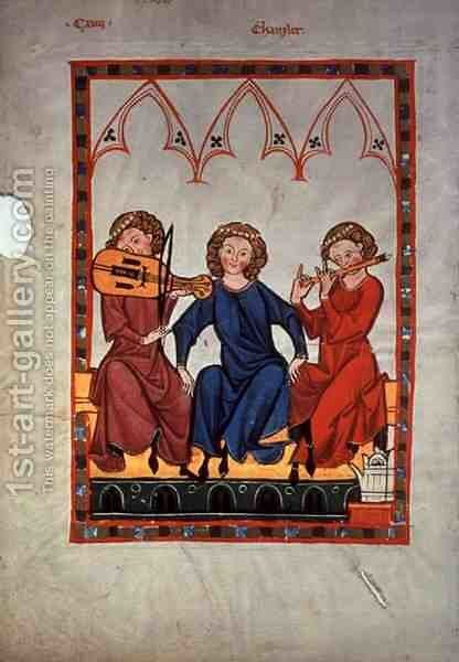 Musicians, from the Manasse Codex, a collection of courtly love songs, c.1300-20 by Anonymous Artist - Reproduction Oil Painting