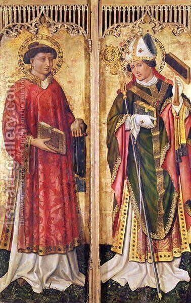 St. Stephen and St. Blaise, from the Altarpiece of Pierre Rup, c.1450 by Anonymous Artist - Reproduction Oil Painting
