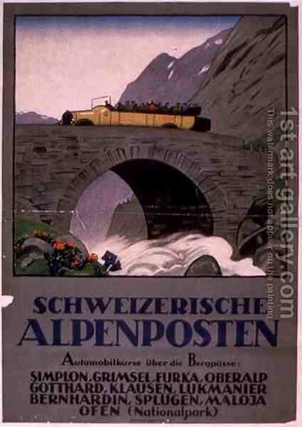 Advertisement for Swiss Alpine Motor Rides by Anonymous Artist - Reproduction Oil Painting