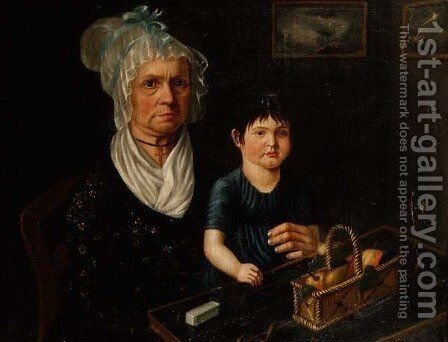 Portrait of Mrs. Catherina Bircher with Her Granddaughter by Anonymous Artist - Reproduction Oil Painting