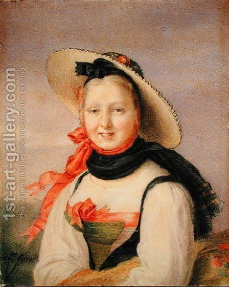 Portrait of a Girl by Anonymous Artist - Reproduction Oil Painting