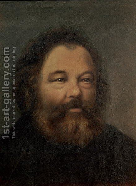 Portrait of Mikhail Aleksandrovitch Bakunin 1814-1876 c.1865 by Anonymous Artist - Reproduction Oil Painting