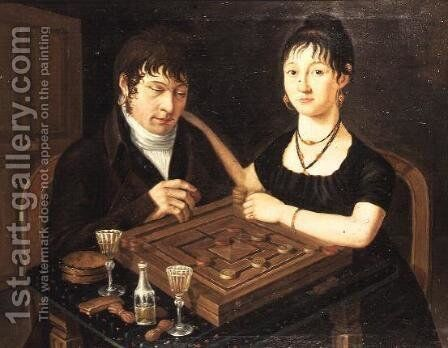 Portrait of Mr. and Mrs. Sutermeister by Anonymous Artist - Reproduction Oil Painting