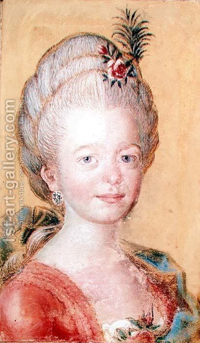 Portrait of the daughter of Carl Linnaeus 1707-78 by Anonymous Artist - Reproduction Oil Painting