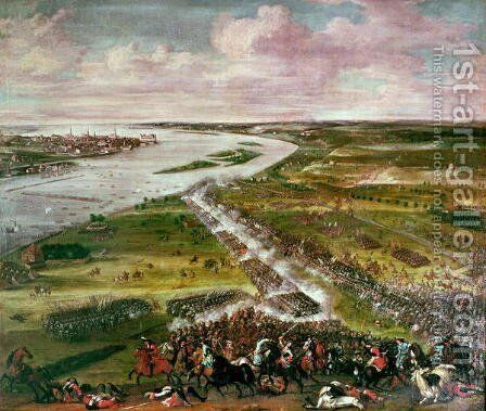 Battle for the Crossing of the Dvina, 1701 by Anonymous Artist - Reproduction Oil Painting