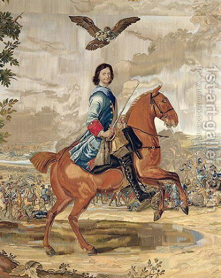 Peter I 1672-1725 the Great Triumphing Over the Defeated Swedish Army at Poltava in 1709 by Anonymous Artist - Reproduction Oil Painting