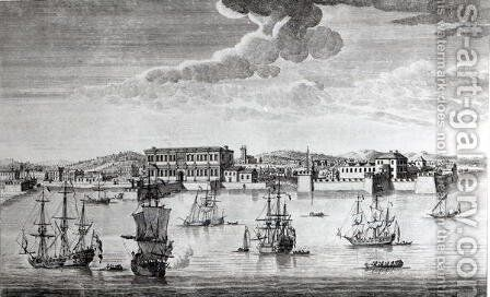 Bombay on the Malabar coast belonging to the East India Company of England, 1754 by Jan van Ryne - Reproduction Oil Painting