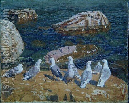 Seagulls, 1910 by Arkadij Aleksandrovic Rylov - Reproduction Oil Painting