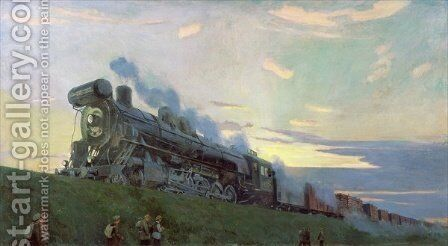Super power steam engine, 1935 by Arkadij Aleksandrovic Rylov - Reproduction Oil Painting