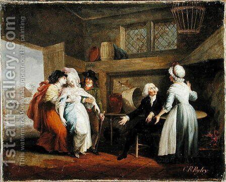 Dining in the Hayfields surprised by Mr Thornhills chaplain vol.1, chapter VIII from The Vicar of Wakefield, 1786 by Charles Reuben Ryley - Reproduction Oil Painting