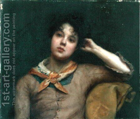 Study of a Young Woman by Harriet E. Ryder - Reproduction Oil Painting