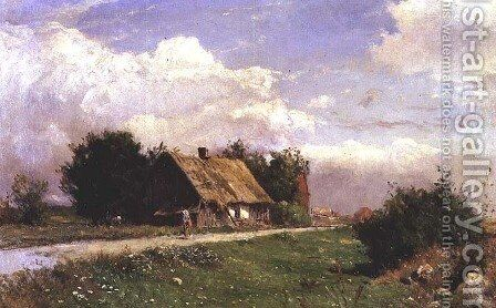 A wooded landscape with figures by a cottage by Gustaf Fredrik Rydberg - Reproduction Oil Painting