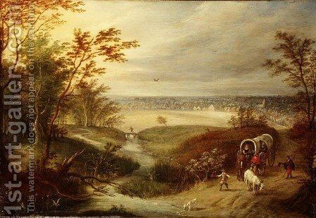 An extensive wooded landscape with a waggon at a ford by (attr. to) Ryckaert, Marten - Reproduction Oil Painting