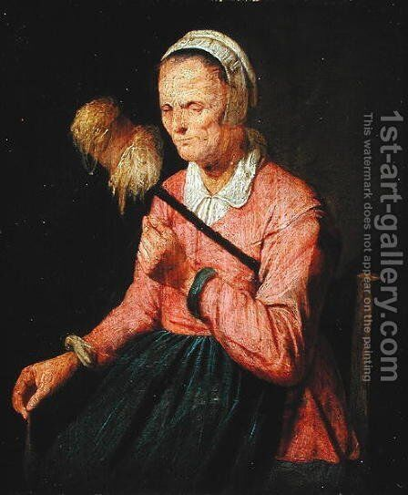 A Woman Spinning by David The Younger Ryckaert - Reproduction Oil Painting