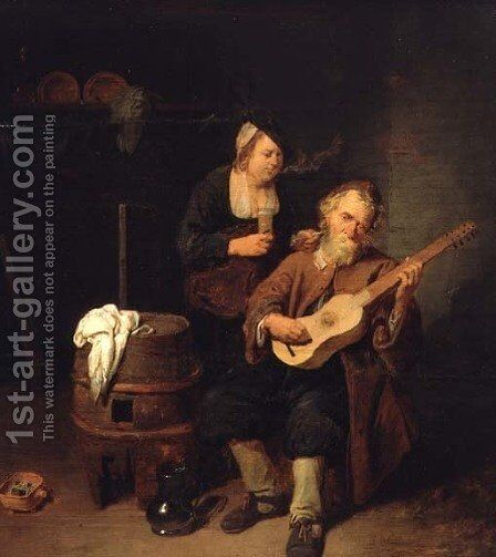 The Guitar Player, 1641 by David The Younger Ryckaert - Reproduction Oil Painting