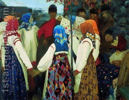 A lad has wormed his way into the girls round dance, 1902 by Andrei Petrovich Ryabushkin - Reproduction Oil Painting