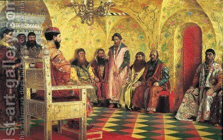 Tsar Mikhail Fyodorovich 1596-1645 with Boyars Sitting in His Room, 1893 by Andrei Petrovich Ryabushkin - Reproduction Oil Painting