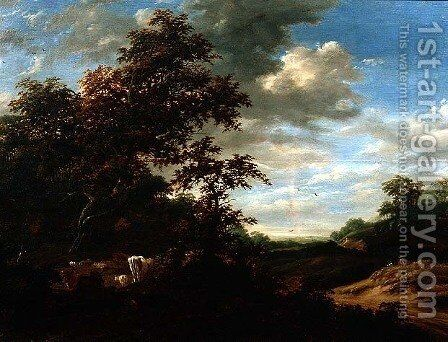 A Wooded Landscape with Cattle by Jacob Salomonsz. Ruysdael - Reproduction Oil Painting