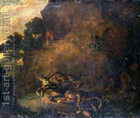 Tigers attacking a stag in rocky landscape by Carl Borromaus Andreas Ruthart - Reproduction Oil Painting