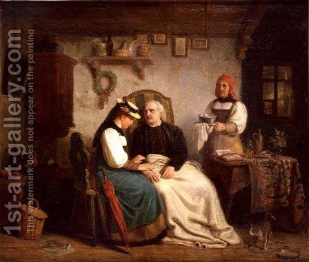 The Elderly Invalid by Heinrich von Rustige - Reproduction Oil Painting