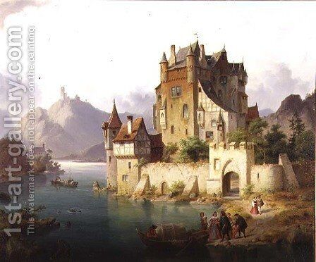The Castle Ferry, c.1851 by Heinrich von Rustige - Reproduction Oil Painting