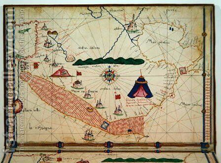 Ms Ital 550.0.3.15 fol.5v Map of the Red Sea, from the Carte Geografiche by Jacopo Russo - Reproduction Oil Painting