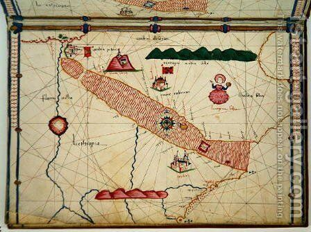 Ms Ital 550.0.3.15 fol.6r Map of Egypt, from the Carte Geografiche by Jacopo Russo - Reproduction Oil Painting