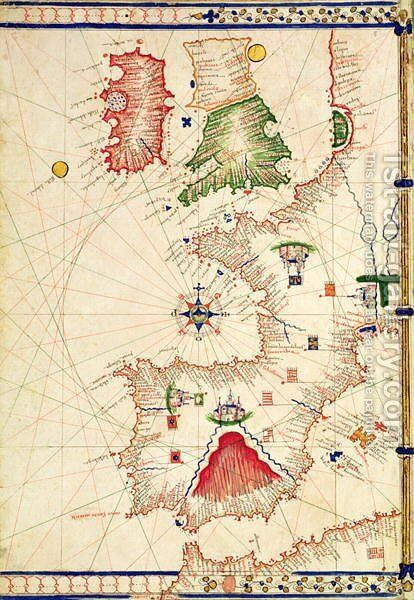 Ms Ital 550.0.3.15 fol.2r Map of Europe, from Carte Geografiche by Jacopo Russo - Reproduction Oil Painting