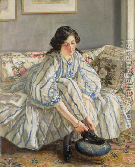 Tying her Shoe by Sir Walter Russell - Reproduction Oil Painting
