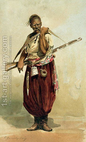 17th century Zaporogue Cossack, late 19th century by Anonymous Artist - Reproduction Oil Painting