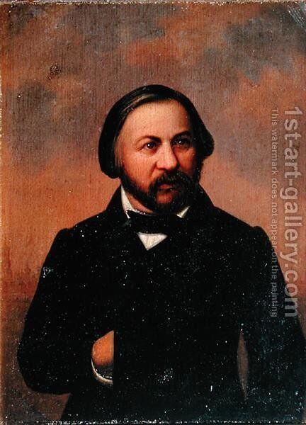 Portrait of Mikhail Ivanovich Glinka 1804-57, 1850s by Anonymous Artist - Reproduction Oil Painting