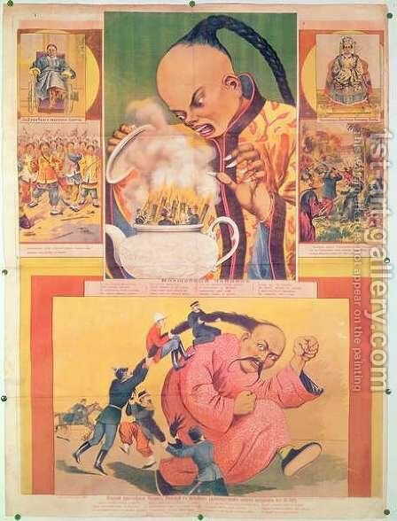 Comic Russian poster satirizing the Europeans in China, printed in Moscow, Russia, 1900 by Anonymous Artist - Reproduction Oil Painting