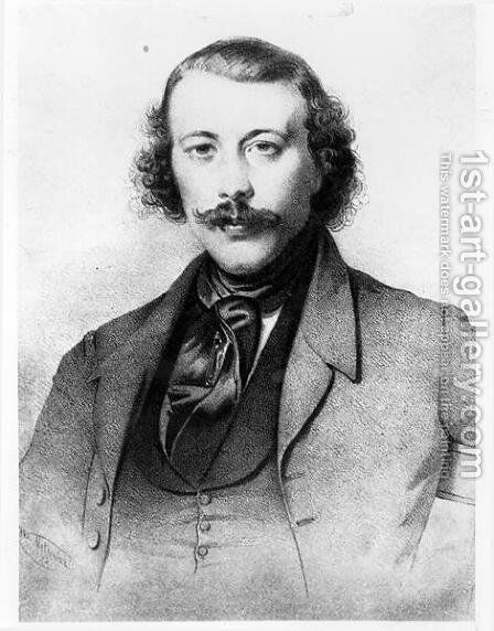 Portrait of Mikhail Aleksandrovich Bakunin 1814-76 1843 by Anonymous Artist - Reproduction Oil Painting