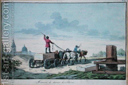 The transport of stone for use in building, 1st half of 19th c. by Anonymous Artist - Reproduction Oil Painting