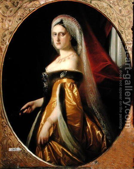 Portrait of Grand Duchess Maria Nikolaevna 1819-76 President of the St. Petersburg Art Academy by Anonymous Artist - Reproduction Oil Painting
