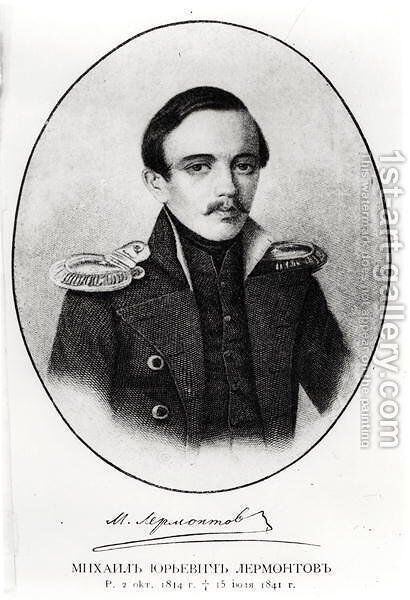 Mikhail Yuryevich Lermontov 1814-41 2 by Anonymous Artist - Reproduction Oil Painting