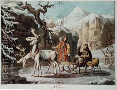 Yakuts of central Siberia in winter landscape, clad in furs and with a reindeer sledge, published 1813 by Anonymous Artist - Reproduction Oil Painting