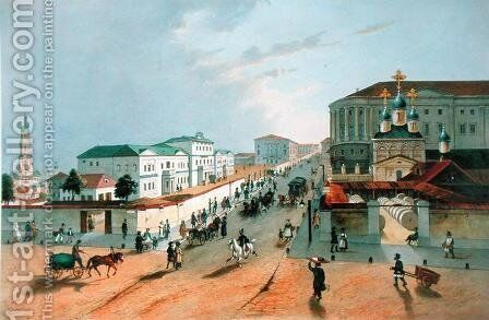 The Imperial Post Office in Moscow, engraved by A. Muller, 1840s by Anonymous Artist - Reproduction Oil Painting