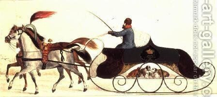 Horse Drawn Sleigh by Anonymous Artist - Reproduction Oil Painting