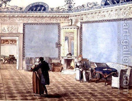 Neo-Classical Blue Drawing Room in St. Petersburg, 1819 by Anonymous Artist - Reproduction Oil Painting