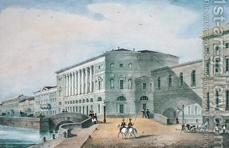 The Hermitage Theatre as Seen from the Vassily Island, 1822 by Anonymous Artist - Reproduction Oil Painting