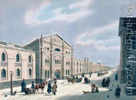 The Synodal Printing house at Nikolyskaya street on Moscow, 1840s by Anonymous Artist - Reproduction Oil Painting